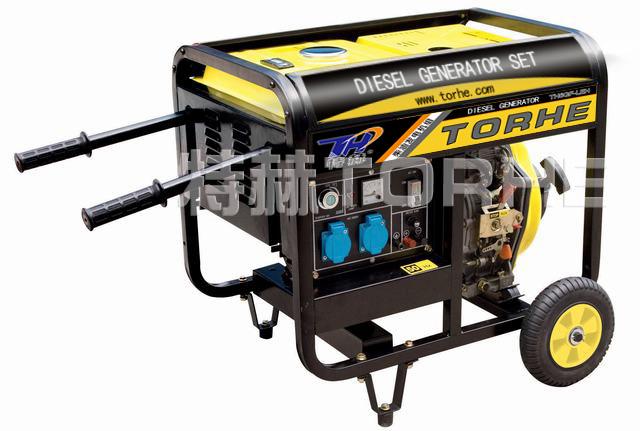 6KW豪华大轮子推车式220V电启动风冷柴油发电机组