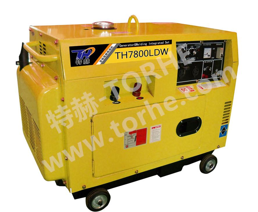 静音式250A电启动柴油发电电焊两用机组,可焊接5.0焊条