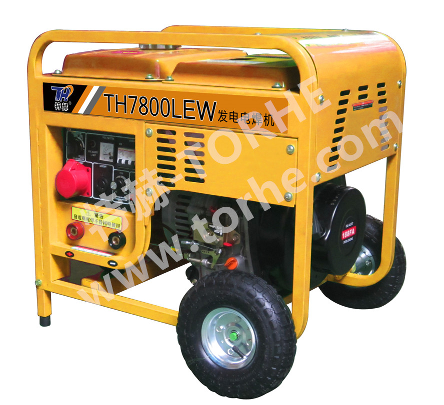 推车式250A电启动柴油发电电焊两用机组,可焊接5.0焊条